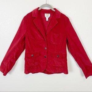 Talbots Red Corduroy Schoolboy Blazer Size 12 EUC